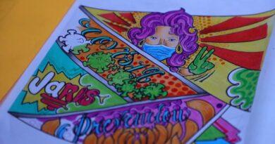 Dejará talento y colores en mural contra COVID19